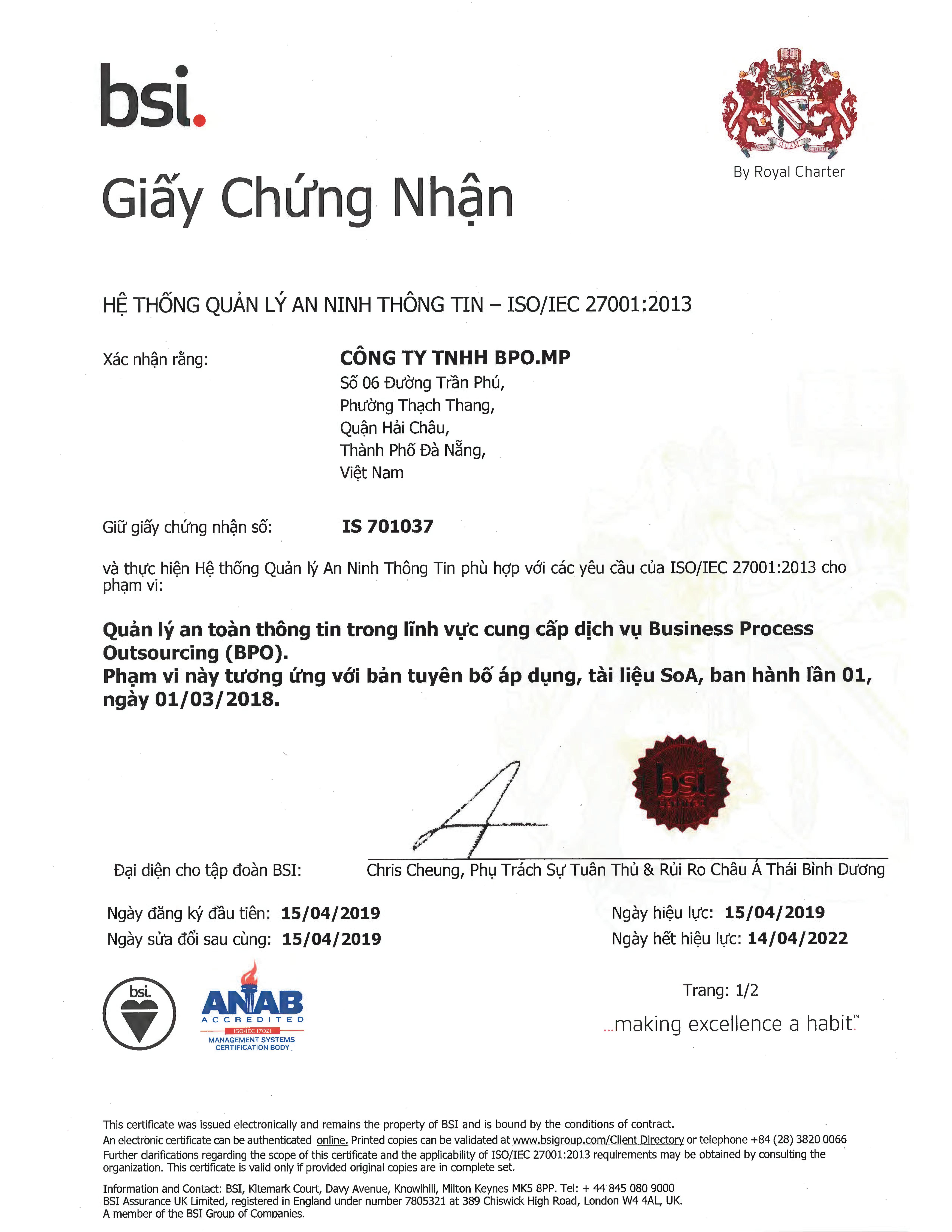 BPO.MP Đạt Chứng Nhận  Tiêu Chuẩn An Toàn Thông Tin ISO/IEC 27001:2013